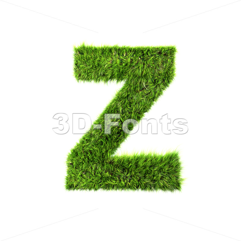 green herb letter Z – Upper-case 3d font