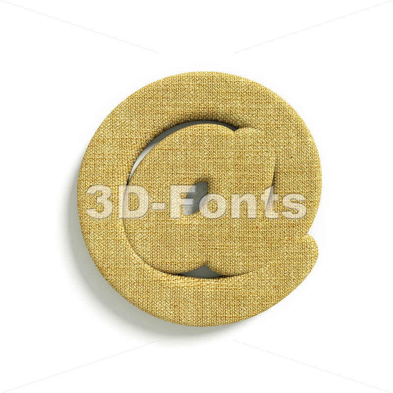 hessian fabric at-sign – 3d arobase symbol