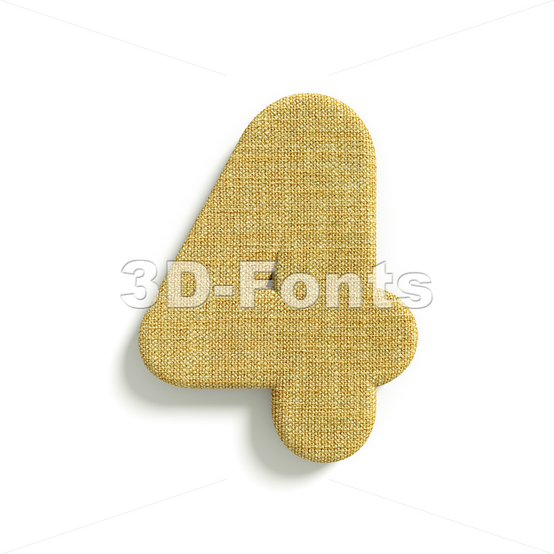 hessian fabric digit 4 – 3d number