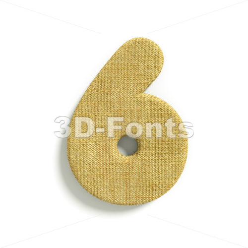 hessian fabric digit 6 – 3d number