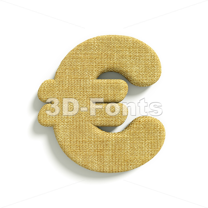 hessian fabric euro currency sign – 3d business symbol
