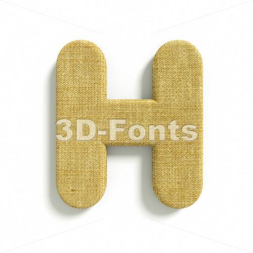 jute 3d letter H – Upper-case 3d character