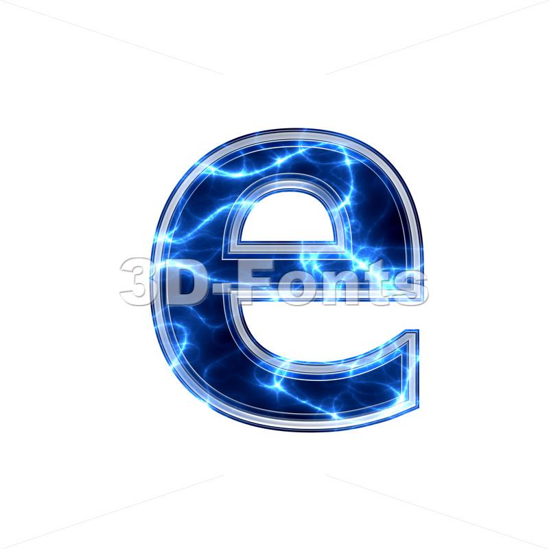 lightning 3d character E – Lower-case 3d letter