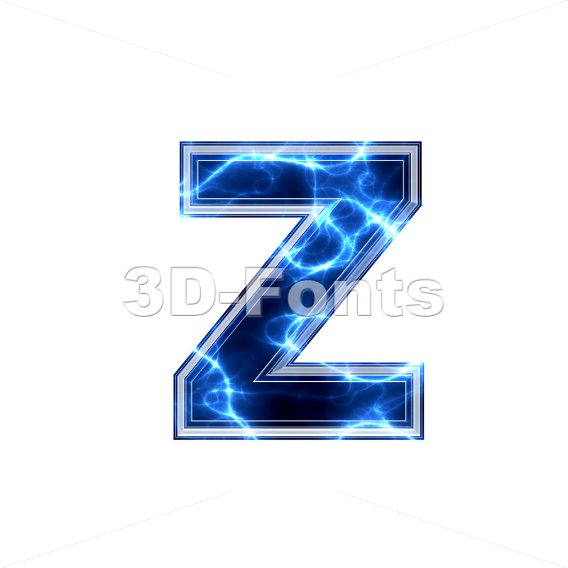 lightning 3d character Z – Lower-case 3d font