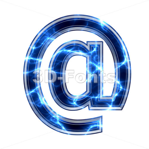 lightning at-sign - 3d arobase symbol - 3d-fonts.com
