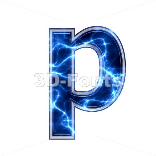 lightning character P – Lowercase 3d font