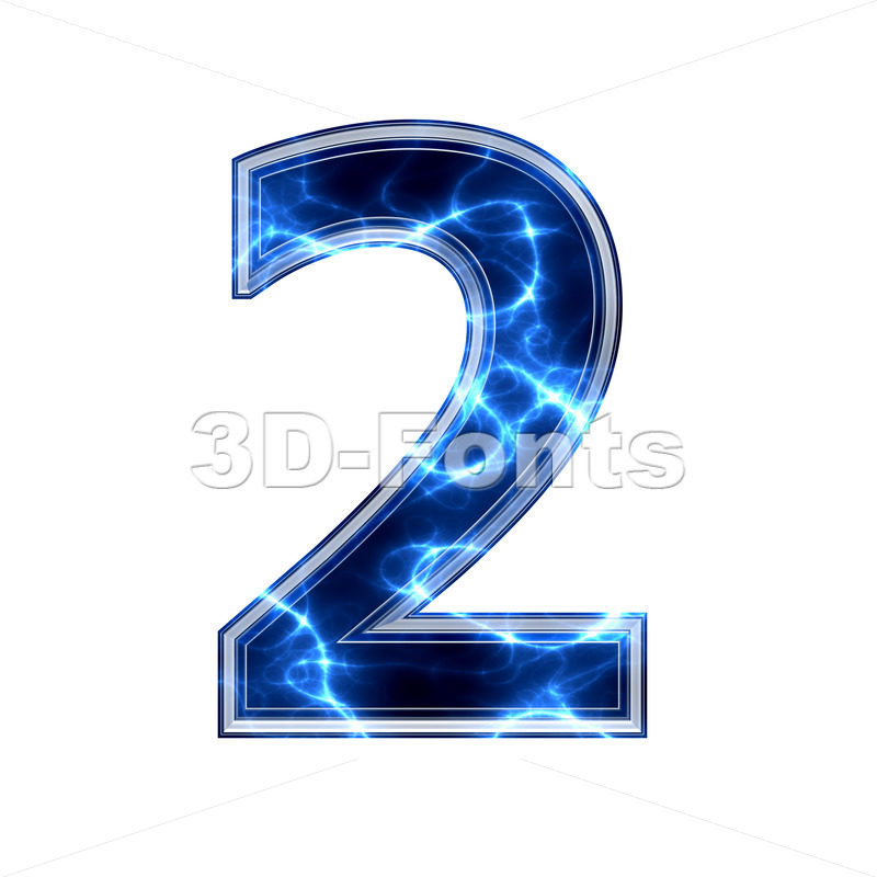 lightning digit 2 - 3d number - 3d-fonts.com