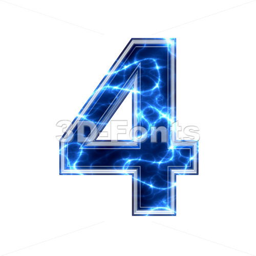 lightning digit 4 - 3d number - 3d-fonts.com