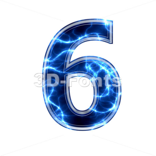lightning digit 6 - 3d number - 3d-fonts.com
