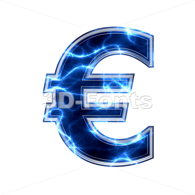 lightning euro currency sign - 3d business symbol - 3d-fonts.com