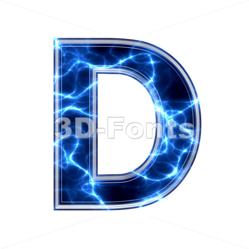 lightning font D - Capital 3d character - 3d-fonts.com