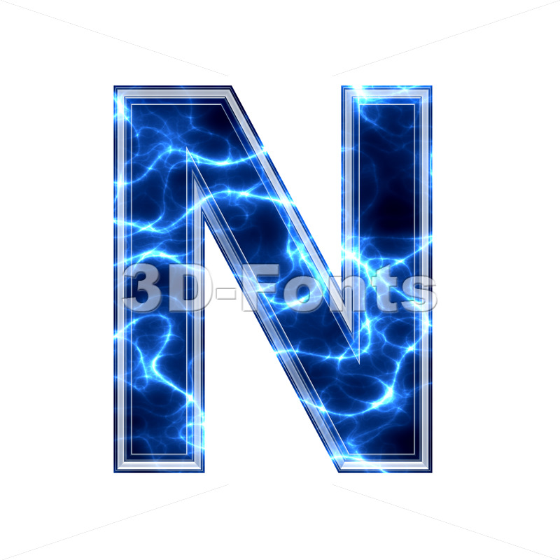 lightning font N - Capital 3d letter - 3d-fonts.com