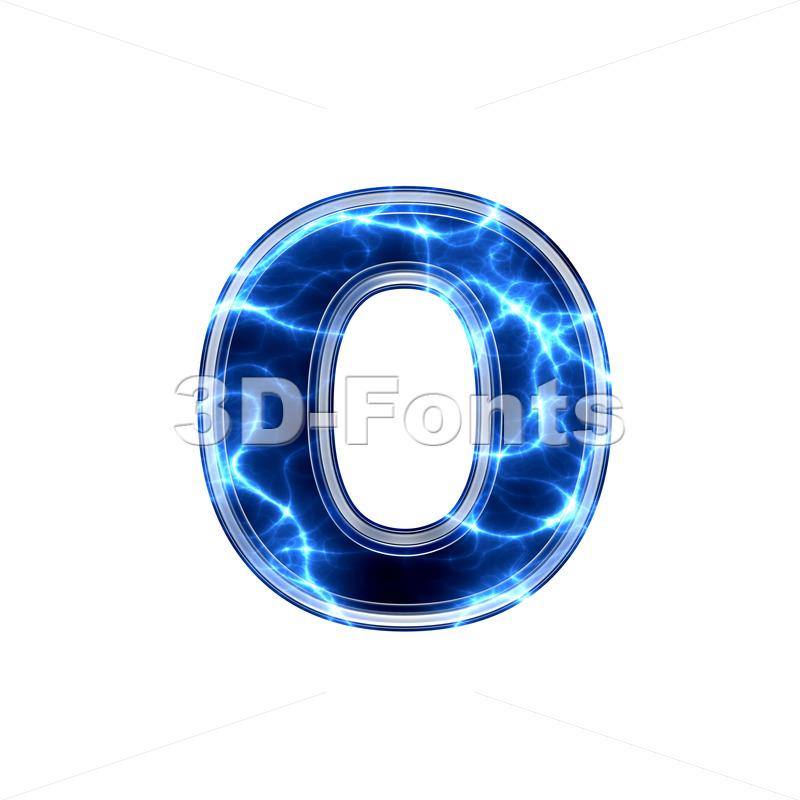 lightning font O – Small 3d letter