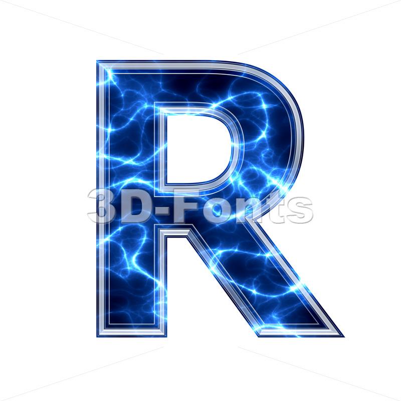 lightning letter R - Uppercase 3d font - 3d-fonts.com