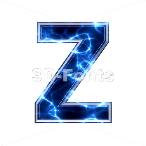 lightning letter Z - Upper-case 3d font - 3d-fonts.com