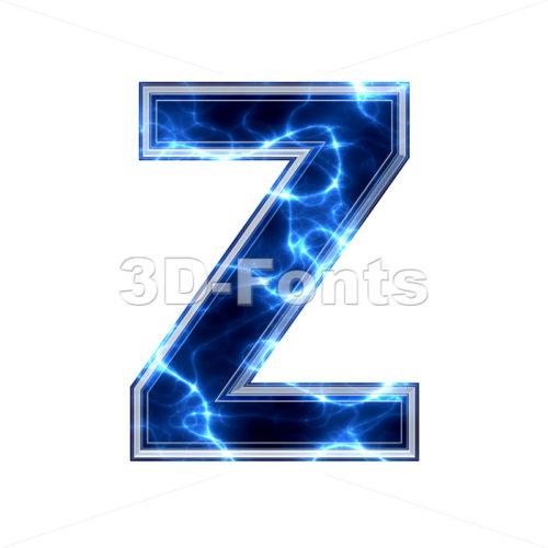 lightning letter Z - Upper-case 3d font - 3d-fonts.com