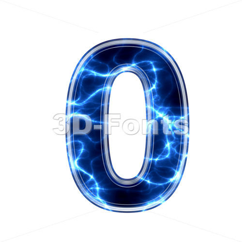 lightning number 0 - 3d digit - 3d-fonts.com