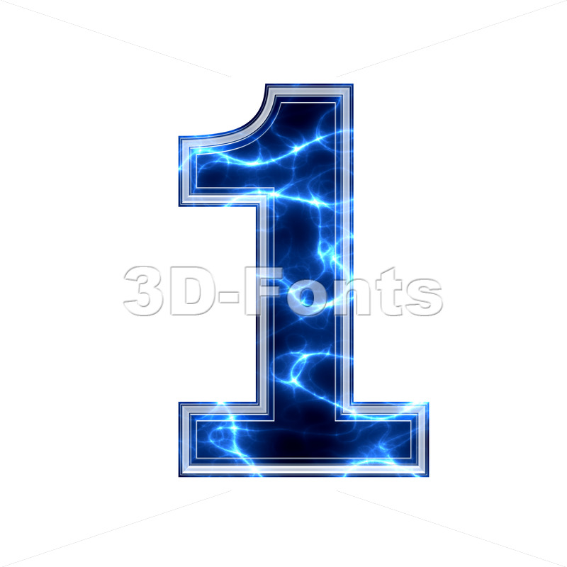 lightning number 1 - 3d digit - 3d-fonts.com