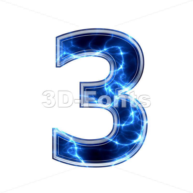 lightning number 3 - 3d digit - 3d-fonts.com