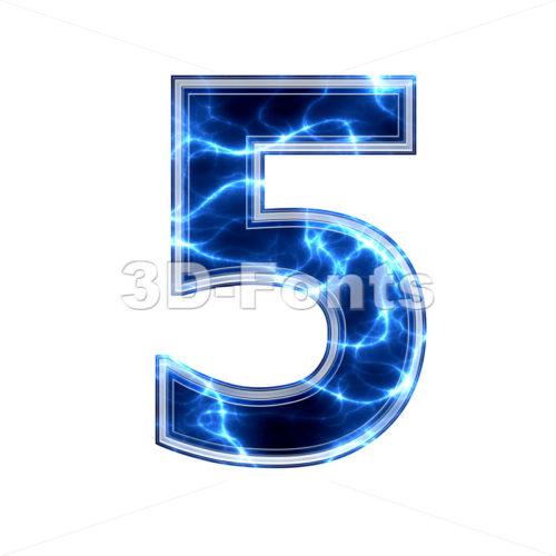 lightning number 5 - 3d digit - 3d-fonts.com