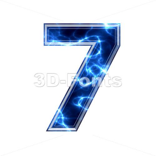 lightning number 7 - 3d digit - 3d-fonts.com