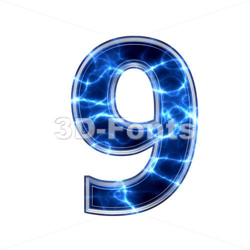 lightning number 9 - 3d digit - 3d-fonts.com