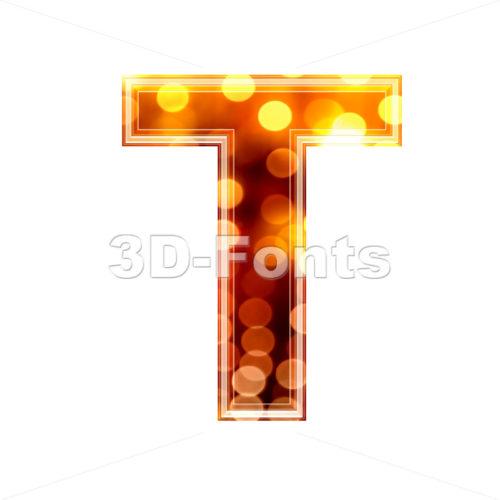 orange lights character T – Uppercase 3d letter