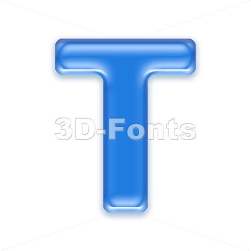 transluscent character T – Uppercase 3d letter