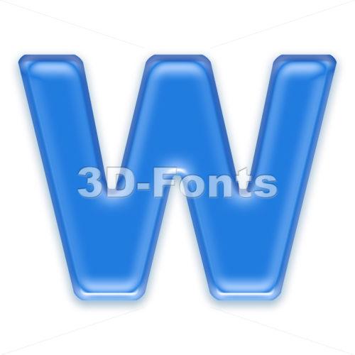 transluscent font W – Capital 3d letter