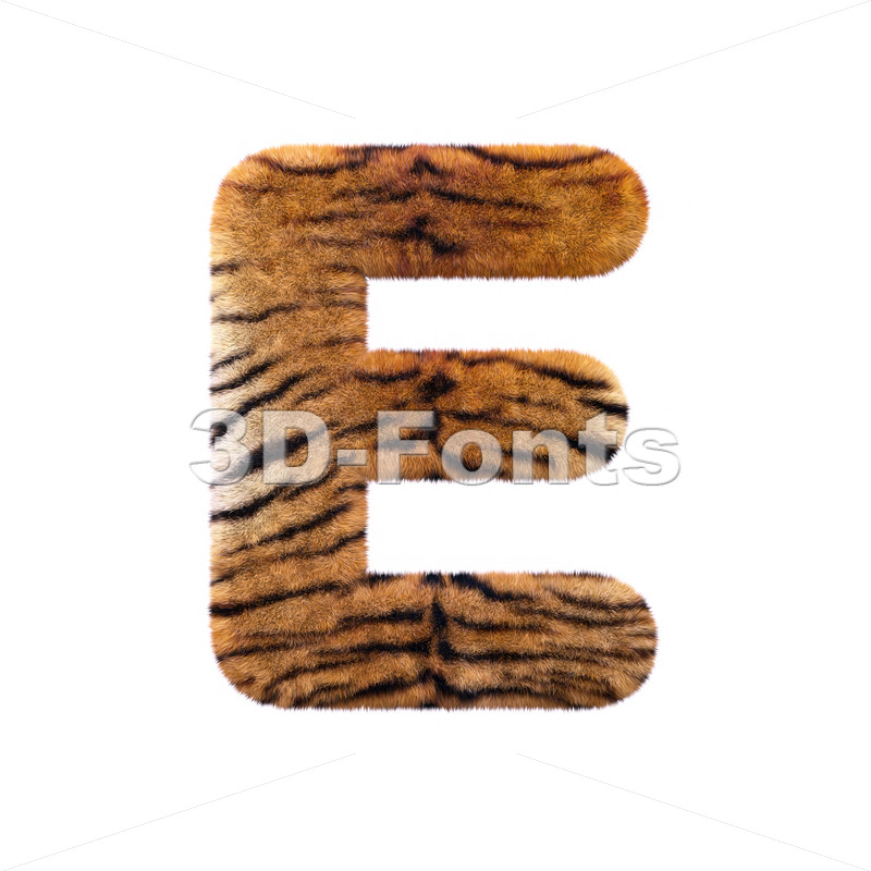 3d Capital character E covered in tiger coat texture