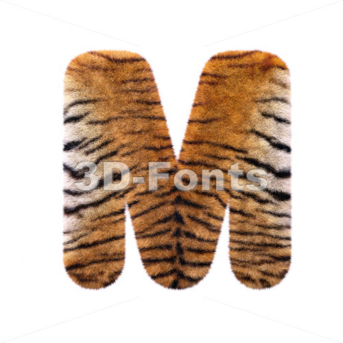 3d Capital character M covered in tiger coat texture