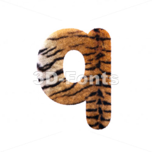 3d Lower-case font Q covered in tiger texture