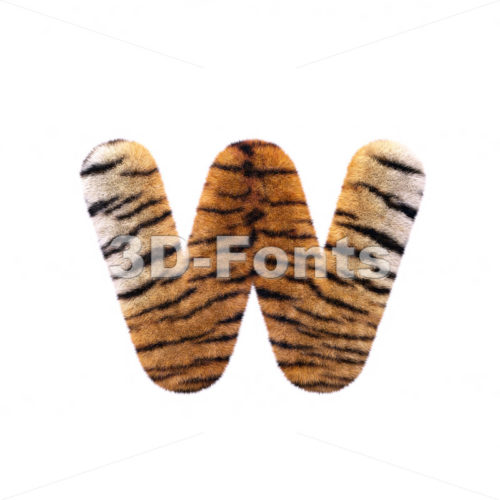 3d Lower-case letter W covered in tiger texture