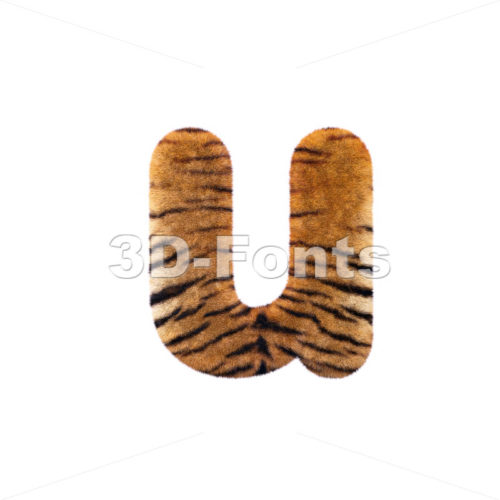 3d Small character U covered in tiger coat texture