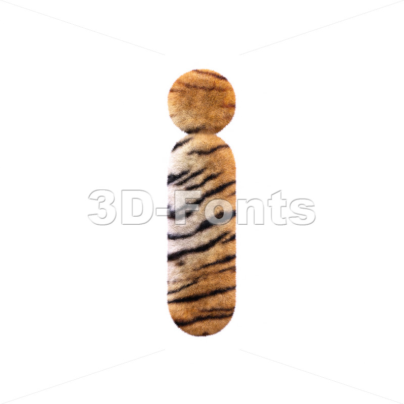 3d Small letter I covered in tiger coat texture