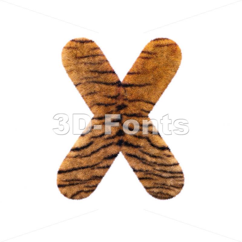 3d Upper-case character X covered in tiger coat texture