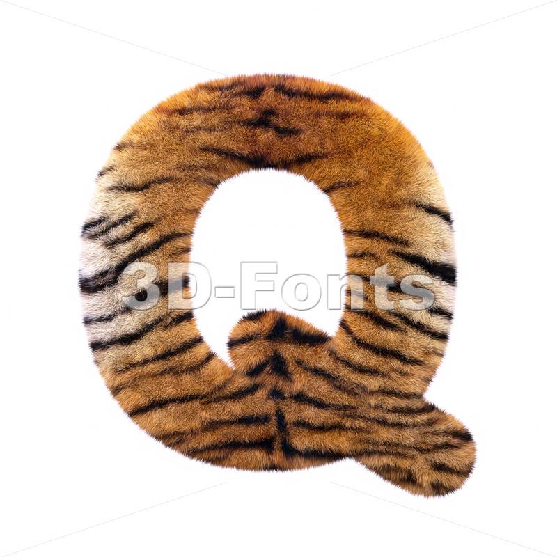 3d Upper-case font Q covered in tiger coat texture