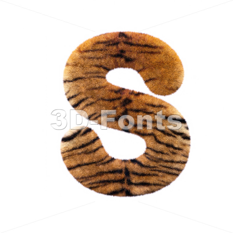 3d Uppercase font S covered in tiger fur texture