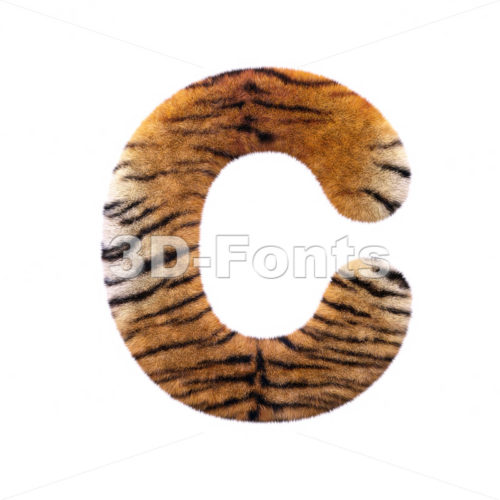 3d tiger fur font C – Capital 3d letter
