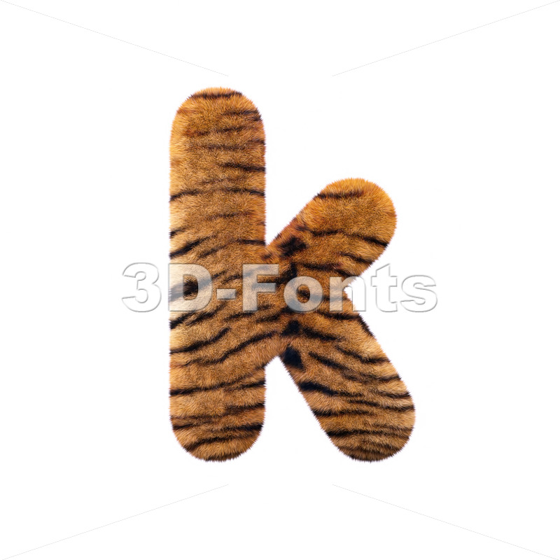 Lower-case safari tiger character K – Small 3d letter