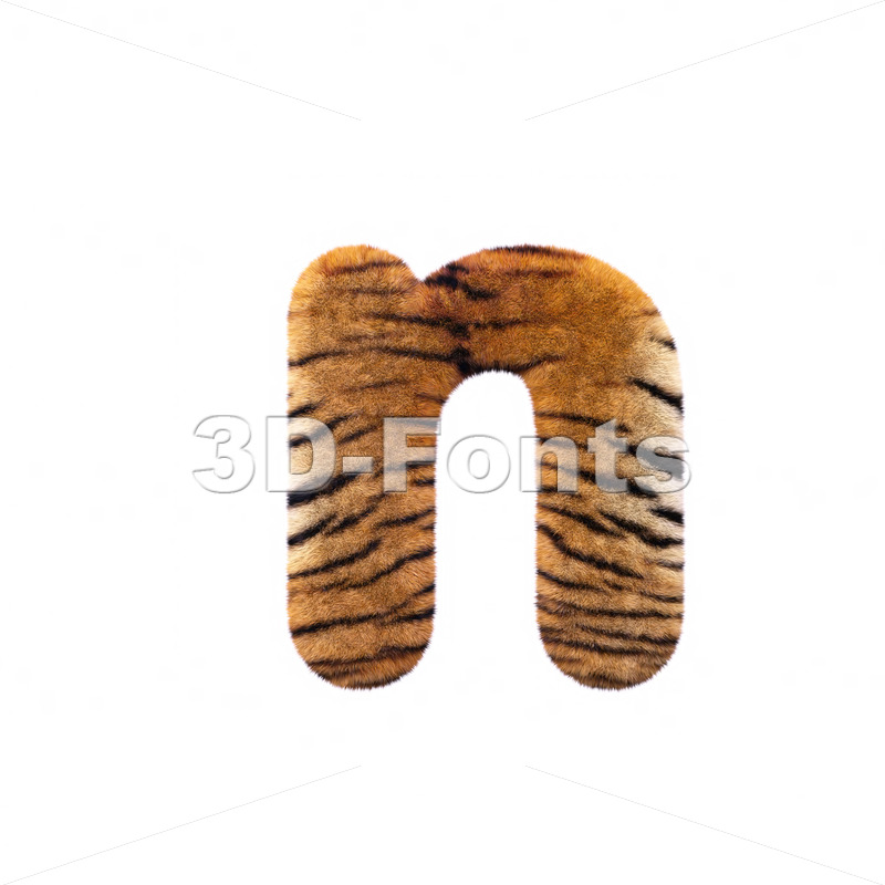 Lower-case tiger fur letter N – Small 3d font
