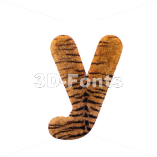 Lowercase tiger coat character Y – Small 3d letter