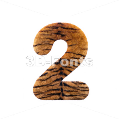 Tiger digit 2 – 3d number