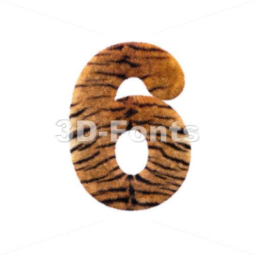 Tiger digit 6 – 3d number