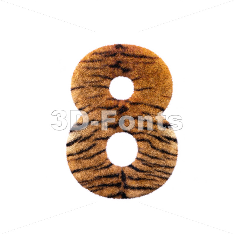 Tiger digit 8 – 3d number