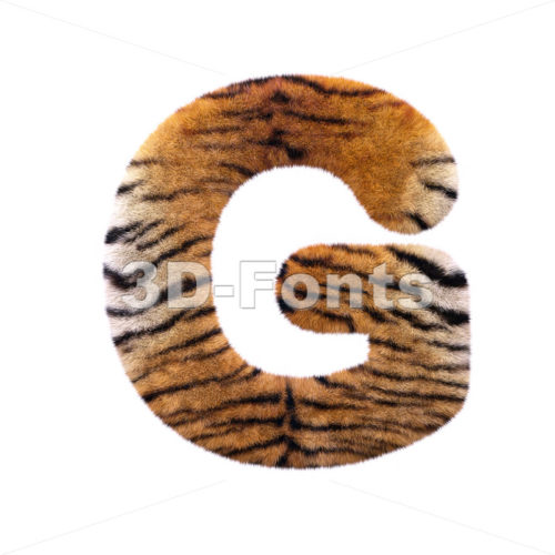 Upper-case tiger fur character G – Capital 3d font