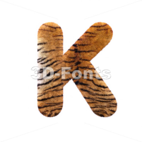 Uppercase tiger fur letter K – Capital 3d font