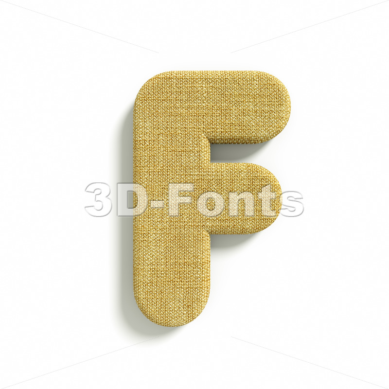 jute letter F – Upper-case 3d font - 3d-fonts