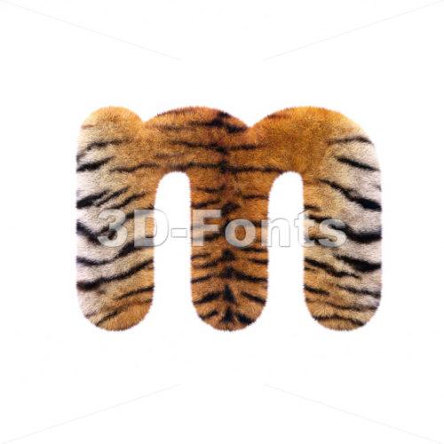 tiger coat 3d font M – Lowercase 3d letter