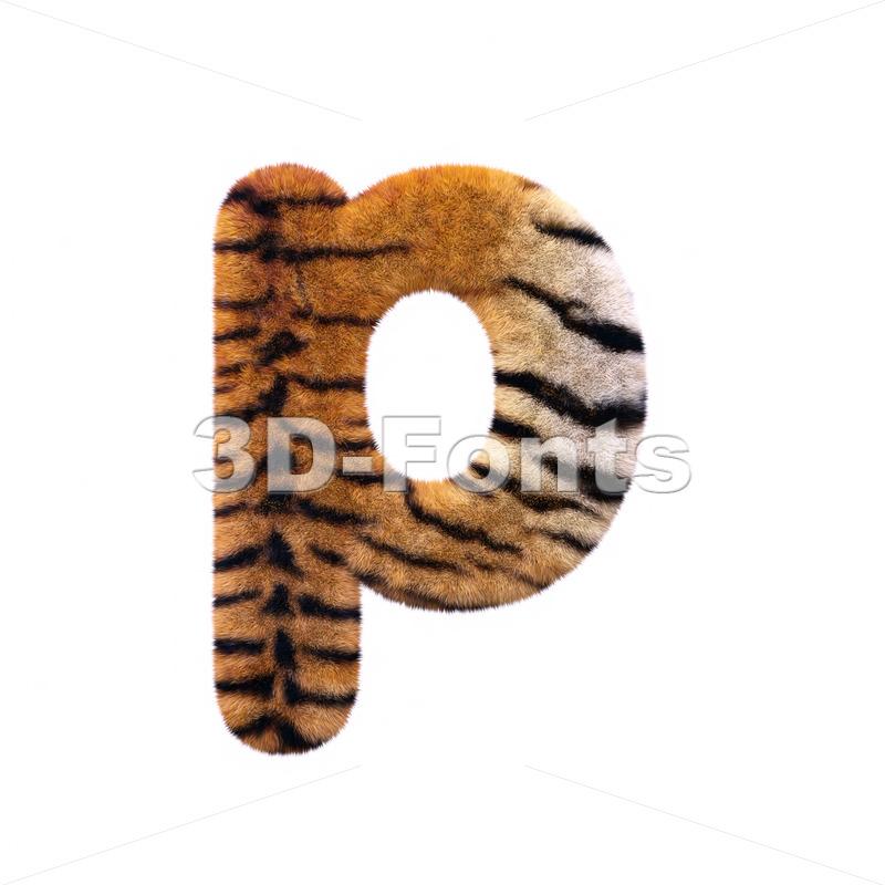 tiger coat character P – Lowercase 3d font